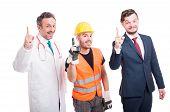 Постер, плакат: Cheerful Group Of Medic Lawyer And Builder