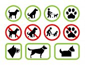 Set of pet friendly and pet restriction signs providing information for owners on level of tolerance poster