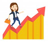 Business woman standing on profit chart. Caucasian successful business woman running along the profi poster