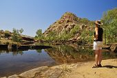 pic of leopold  - Young woman enjoying the view and beauty of Bell Gorge King Leopold Ranges Kimberley Gibb River Road Western Australia Australia - JPG
