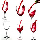stock photo of megapixel  - Red wine and wineglasses - JPG