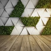 Wall in modern interior with concrete blocks and vertical garden. 3D illustration. poster