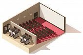 Vector isometric low poly movie theater cutaway. Includes movie projection screen, seats and project poster