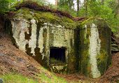 Old Czech bunker, part of fortifications built before WW2, 1938 since.  Very interesting military landmark in forest around Vsekary village. Czech Republic, Europe poster