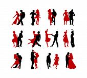 stock photo of ballroom dancing  - dancing couples silhouettes in vector format on white background - JPG