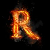Fire letter R of burning flame. Flaming burn font or bonfire alphabet text with sizzling smoke and f poster