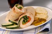 Turkey And Swiss Cheese Wrap With Chips And Soft Drink poster
