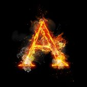 Fire letter A of burning flame. Flaming burn font or bonfire alphabet text with sizzling smoke and f poster