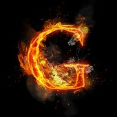 Fire letter G of burning flame. Flaming burn font or bonfire alphabet text with sizzling smoke and f poster