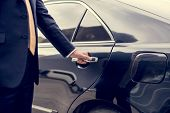 Businessman Handle Limousine Door Car poster