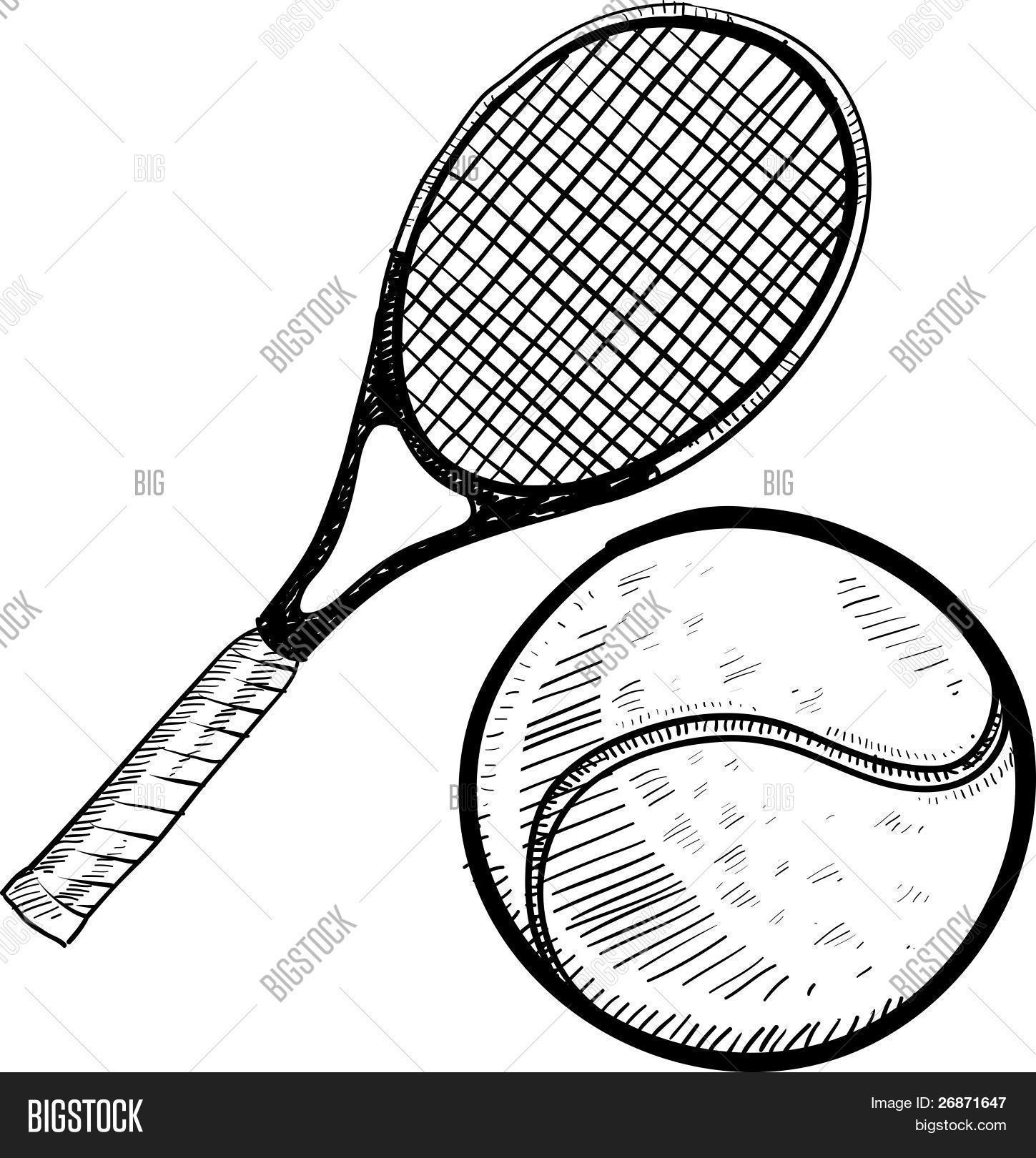 tennis ball racket sketch vector  u0026 photo