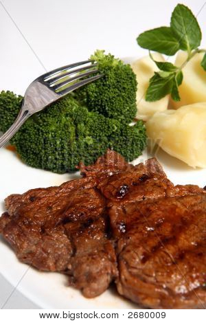Grilled Ribeye Beef Steak Broccoli Potato