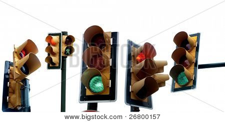 an image of several traffic lights on white