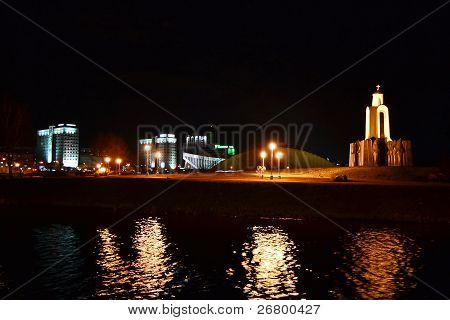 Night cityscape of Minsk.