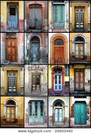 a detail shot of variety of old doors