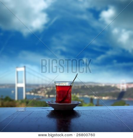 close up shot of a tea glass on the table