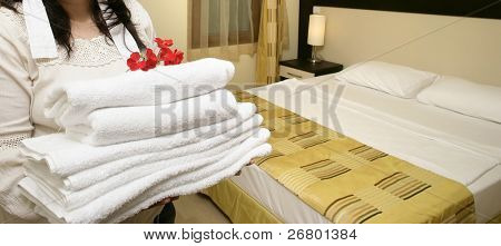 an image of a maid in hotel room