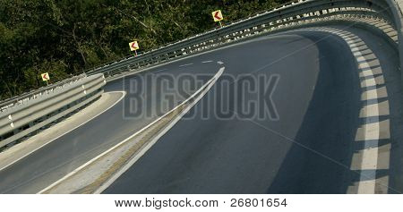 close up shot of a road curve