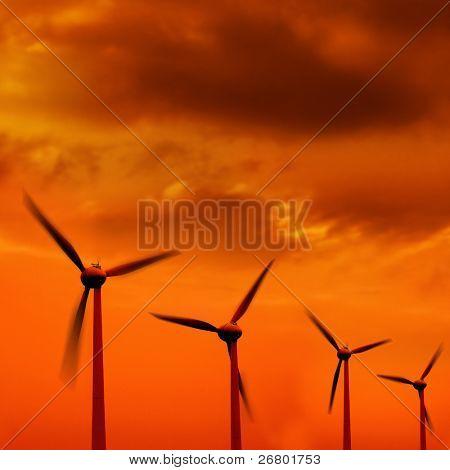 turbina de vento em uma linha sobre fundo laranja