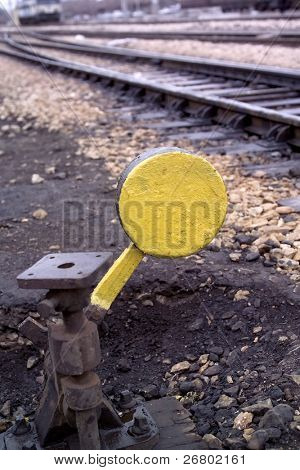 close up shot of a rusty train switch