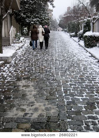 an image of the people walking in winter time