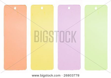 collection of colorful price tags or address labels