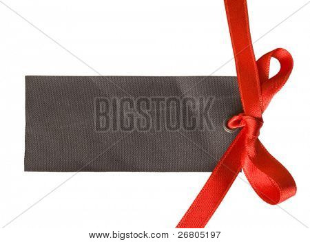sateen gift tag with red bow