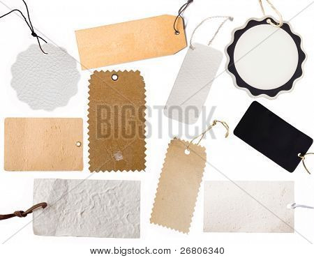 collection of various price tag or address labels