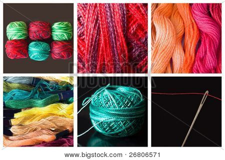 collage of sewing material