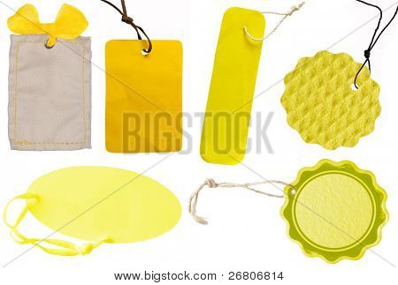 collection of yellow tags