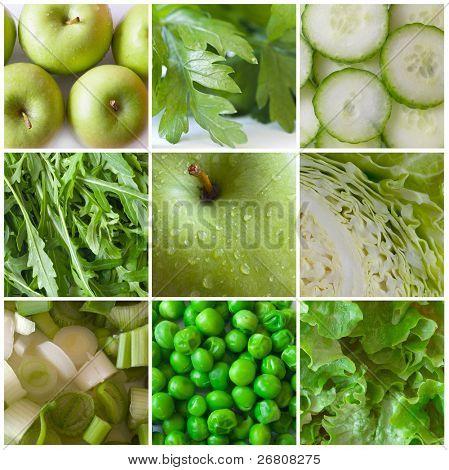 grünes Gemüse und Obst