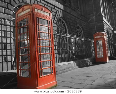 Pair Of Classic Red British Telephone Boxes
