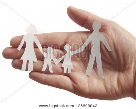 Familie in weiblicher hand