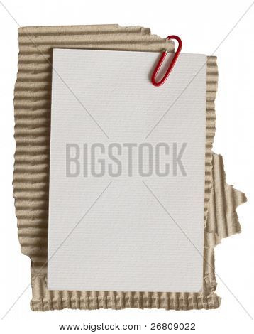 Nota de papel en la cartulina