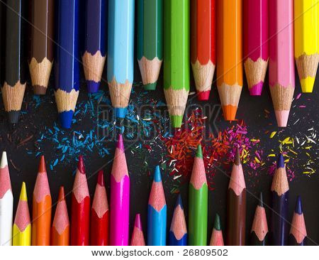 pencils with color shaving