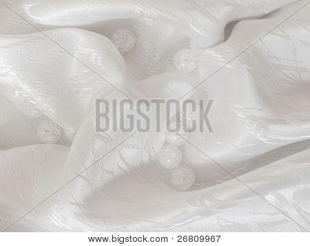 white sateen with transparent balls