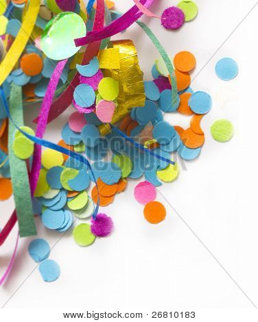 colorful confetti with the place for your text