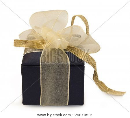 sateen present box with beautiful bow  isolated on white background