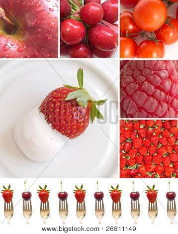 collage of red fruits and vegetables