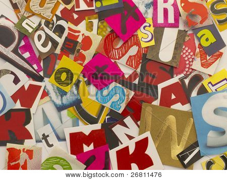 chaotic letters cut from magazines
