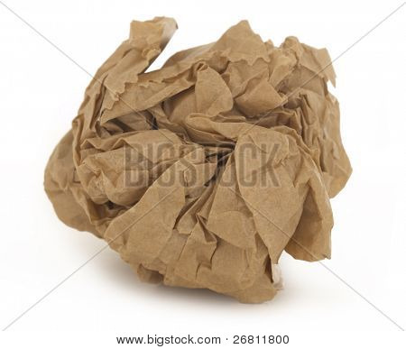 Crumpled paper isolated over white.