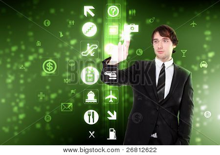 Virtual screen and human hand touching it