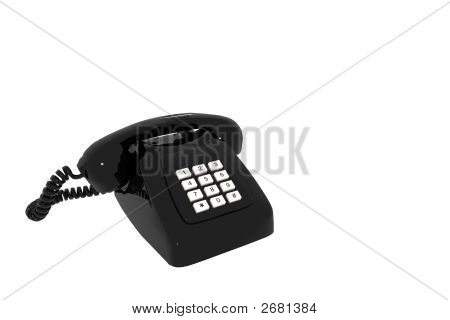 Antique Black Phone On White Background Insulated 3D