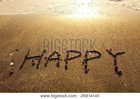 Happy Handwritten Words On Sand