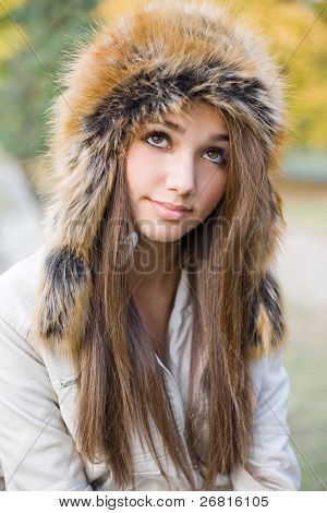 Cuteness In Fur Hat.