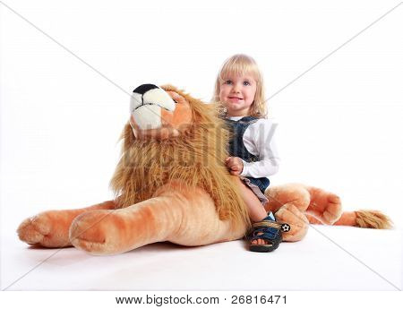 Little Blonde Riding A Lion