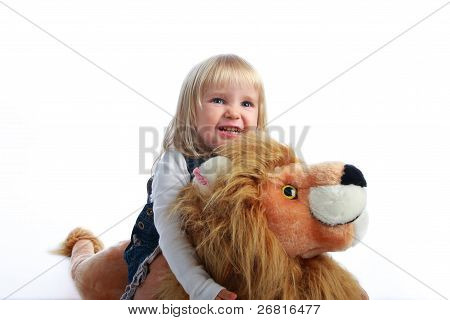 Little Girl With Toy Lion