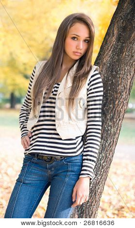 Beautiful Young Model In The Park.