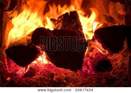 Fire brightly burning in the furnace
