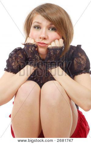 Sitting Bitterly Resentful Girl